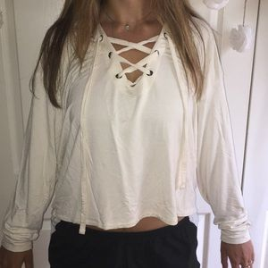 Cropped White Express Lace Up hoodie